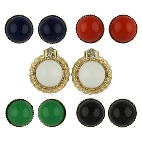 Social Gallery by Roman™ Button Earrings 5 Pairs with Interchangeable Jacket Gift Box Set -