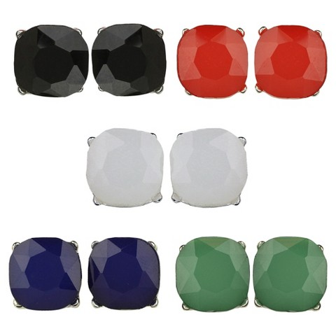 Social Gallery by Roman™ Button Earrings 5 Pairs  Square Post Gift Box Set - Silver/Multicolor