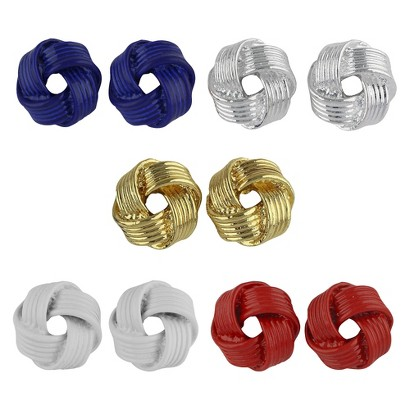 Social Gallery by Roman™ Button Earrings 5 Pairs Knots Post Gift Box Set - Silver/Multicolor