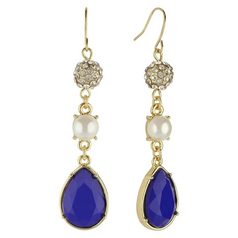 Social Gallery by Roman™ Drop Dangle Earrings Fishhook with Fireball, Pearl, Teardrop Bead -