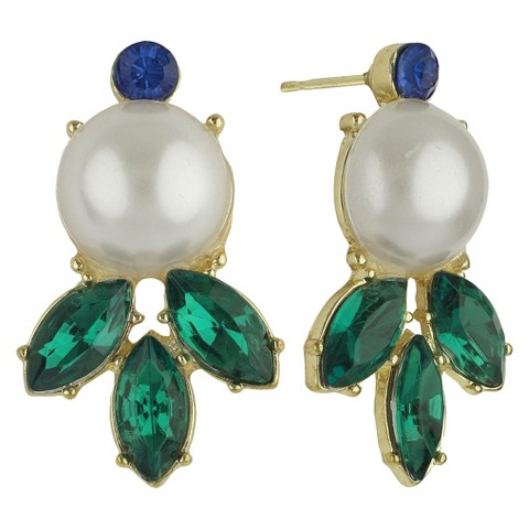 Social Gallery by Roman™ Drop Post Round Earrings Simulated Pearl and Emerald Marquise -