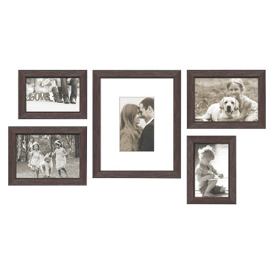 "5 Piece Weathered Frame Set Espresso 5""X7"" - Threshold™"