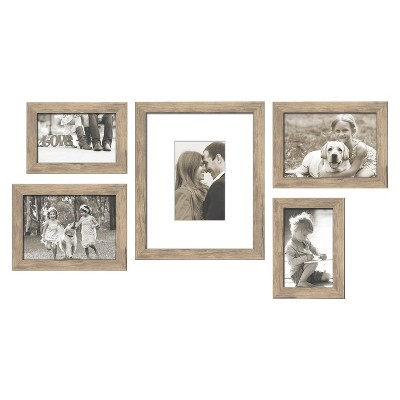 "5 Piece Weathered Frame Set Natural 5""X7"" - Threshold™"