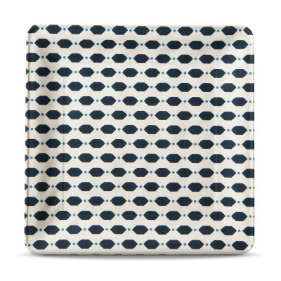 Square Salad Plate Hex Dot