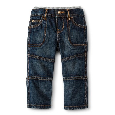 Infant Toddler Boys' Knit Waist Jeans - Medium Blue 12 M