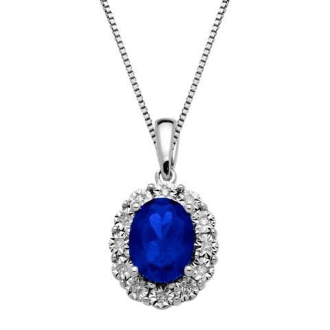 0.06 CT.T.W. Lady Di Created Sapphire and Diamond Accented Pendant Sterling Silver - 18""