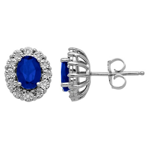 0.072 CT.T.W. Lady Di Created Sapphire and Diamond Accented Stud Earrings Sterling Silver