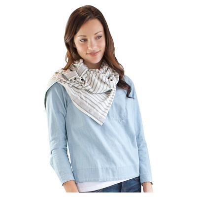 NuRoo Nursing Cover Scarf - Ivory/Heather Gray Stripe