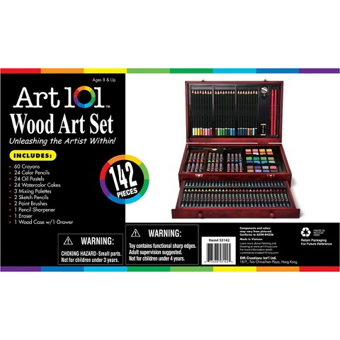 Art 101 142 Piece Art Set in Wood Case with  1 Drawer