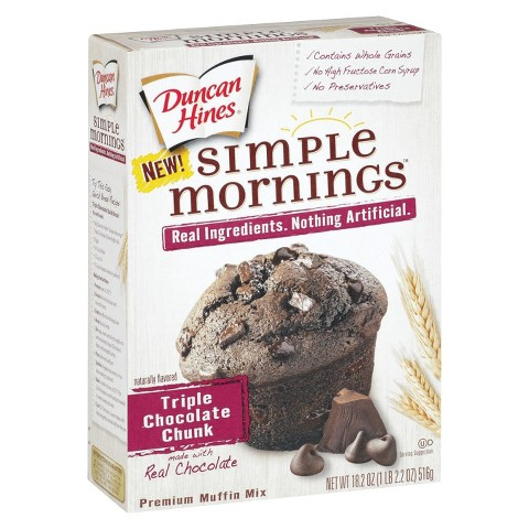 Duncan Hines Simple Mornings Triple Chocolate Chunk Muffin Mix 18.2 oz ...