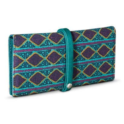 Aztec Print Wallet with Wrap Around Strap Closure - Teal Green