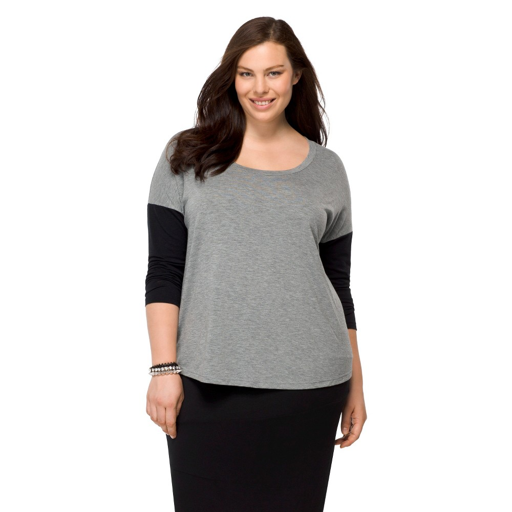 Pure Energy Women's Plus Size Long Sleeve Leisure Tee Heather Gray