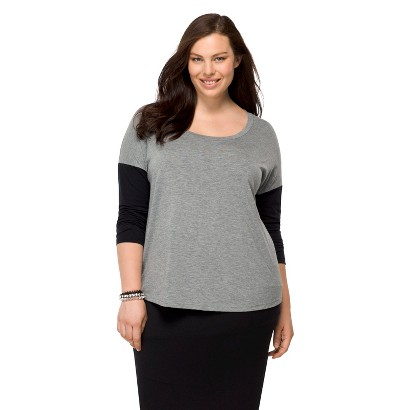 Women's Plus Size Long Sleeve Leisure Tee Heather Gray