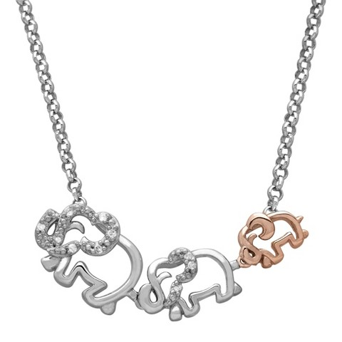 0.02 CT.T.W. Diamond Accent Elephant Family Necklace Sterling Silver and Rose Gold Plated - 17""