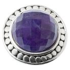 Sterling Silver Round Faceted Amethyst Cocktail Ring - Silver/Purple