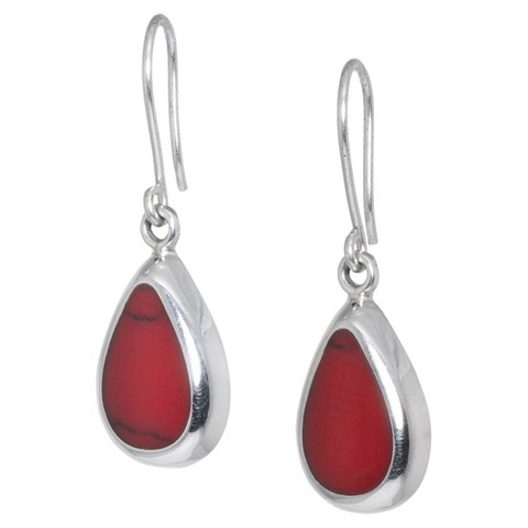 Sterling Silver Red Jasper Inlay Tear Drop Earrings - Silver-Red