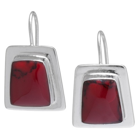 Silver Plated Red Jasper Inlay Framed Drop Earrings - Silver/Red