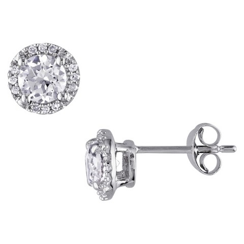 Allura 1 1/3 CT. T.W. Created White Sapphire and Diamond Buttercup Stud Earrings Set in Sterling Silver