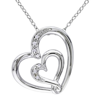 "0.04 CT.T.W. Diamond Pave Set Pendant with 18"" Chain in Sterling Silver - GH / I2:I3"