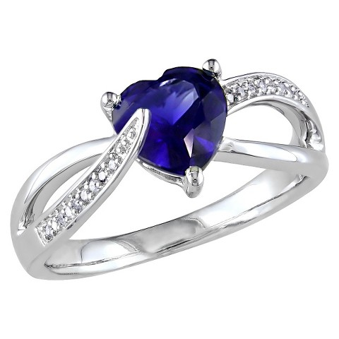 1 7/8 CT.T.W Heart Created Blue Sapphire and Diamond 3 Prong Set Ring in Sterling Silver - 13 / GHI