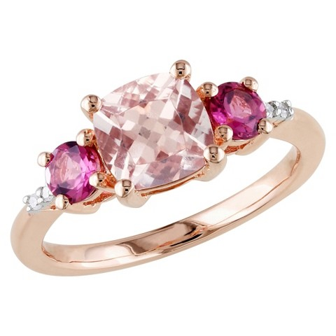 2 CT. T. W. Morganite Pink Tourmaline and Diamond Ring in Pink Silver - GH / I2:I3