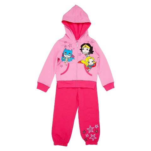Justice League Toddler Girls' Zip Up Hoodie and Sweatpant Set