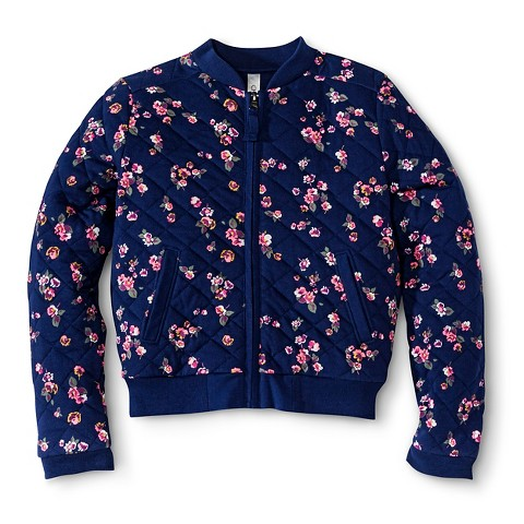 Girls' Floral Bomber Zip-Up