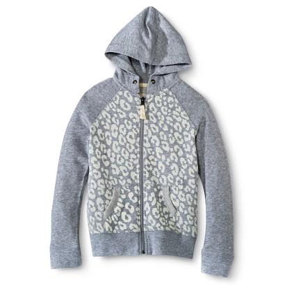 Girls' Animal Print Zip-Up Hoodie - Grey