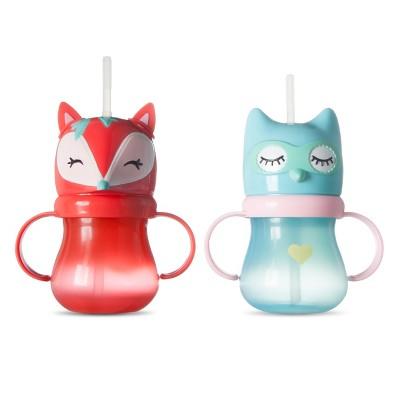 Owl and Fox Straw Sippy Cup Set of 2 - Multicolor