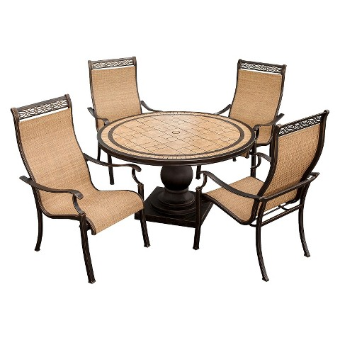 Monaco 5 Piece Sling Patio Dining Furniture Set Tar