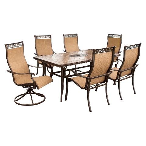 Monaco 7-Piece Sling Patio Motion/Stationary  Dining Furniture Set