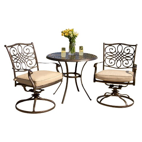 traditions metal 3 piece patio bistro furniture set product details