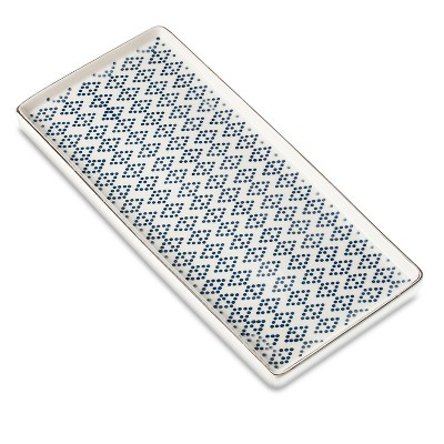 Threshold™ Diamond Dot Pressed Ceramic Bath Tray -  Metallic Blue/White