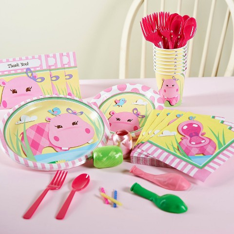 Hippo Pink Birthday Party Pack