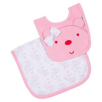 Gerber® Newborn Girls' Organic Bib and Burpcloth Set - Pink