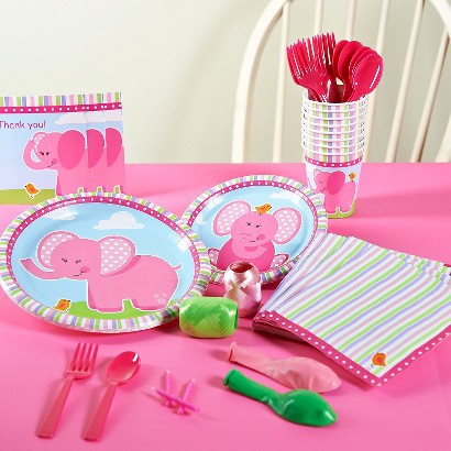 Pink Elephants Party Pack for 16 - Multicolor
