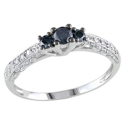 1/4 CT.T.W. Round Blue & White Diamond 3 Stone Promise Ring in 10K White Gold - I2:I3 /GHI