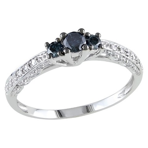 1/4 CT.T.W. Round Blue & White Diamond 3 Stone Promise Ring in 10K White Gold - I2:I3 /GHI