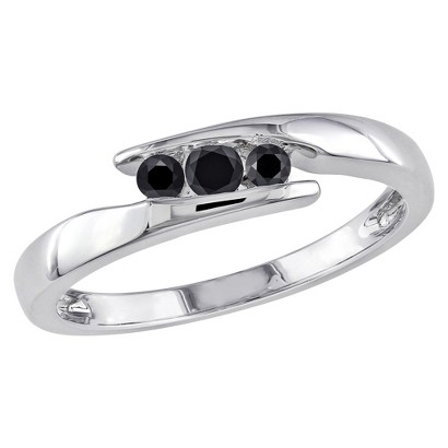 1/5 CT.T.W Round Black Diamond Channel Setting Promise Ring in Sterling Silver - Black