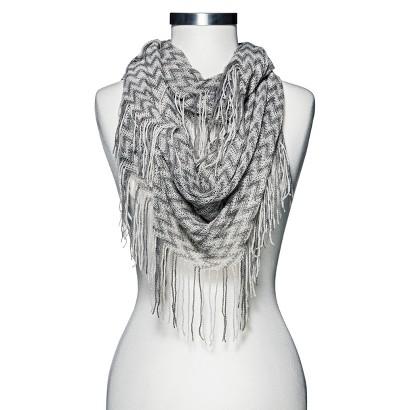 Knit Fringe Infinity Scarf - Gray