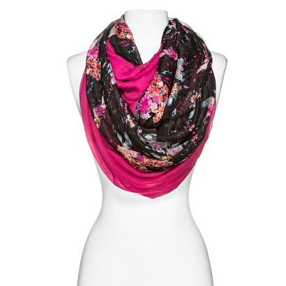 Two-In-One Infinity Scarves - Pink/Black