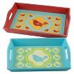 Set of 2 Decorative Trays - Aqua/Red