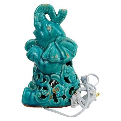Ceramic Elephant Figurine Lamp - Blue