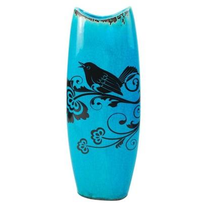 Oval Bird Vase - Blue