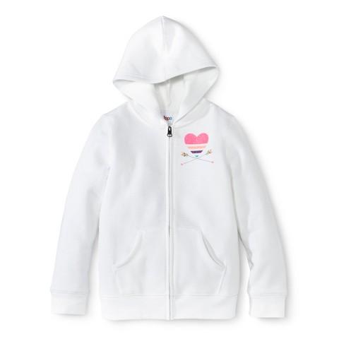 Girls' Zip-Up Hoodie -  White