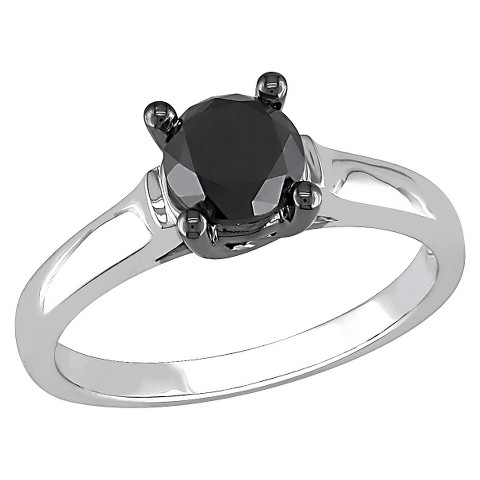 1 CT.T.W. Round Black Diamond Promise Ring in Sterling Silver  - Black