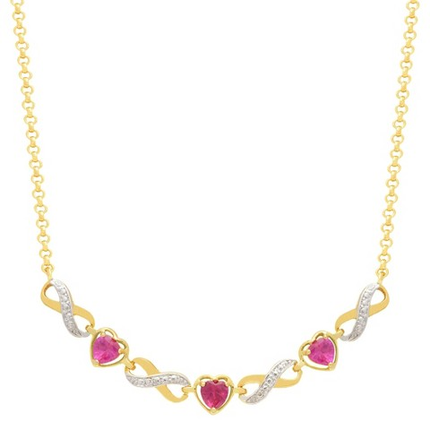 """Heart Cut Simulated Ruby Infinity Gold Plated Necklace (18"""")"""