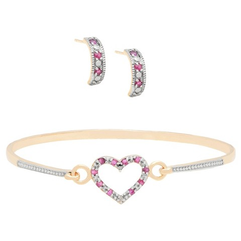 """0.75 CT.T.W. Round-Cut Ruby and 0.01 CT.T.W. Diamond Accent Heart Jewelry Set (7.25"""")"""