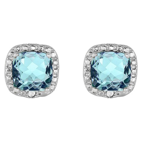 0.02 CT.T.W. Diamond Accent and Cushion-Cut Blue Topaz Stud Earrings Silver Plated