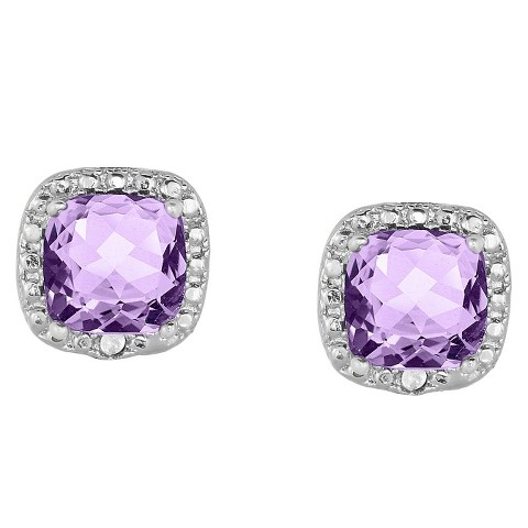 0.02 CT.T.W. Diamond Accent and Cushion-Cut Amethyst Stud Earrings Silver Plated
